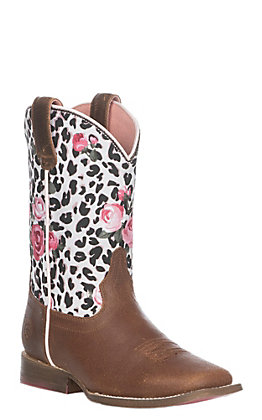Ariat Girls' Busted Brown Gringa Western Square Toe Boots