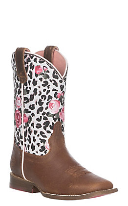Ariat Youth Girls Busted Brown Gringa Western Square Toe Boot