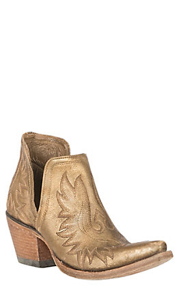 Ariat Women's Dixon Distressed Gold Snip Toe Western Booties