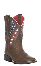 Ariat Youth Boys Cowboy Brown Quickdraw VentTEK Western Square Toe Boot