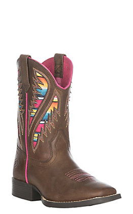 Ariat Youth Girls Distressed Brown Quickdraw VentTEK Western Square Toe Boot