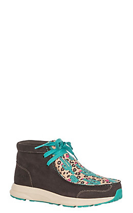 Ariat Spitfire Women's Chocolate Brown & Cactus Leopard Lace Up Casual Shoes