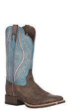 Ariat Ladies Tack Room Chocolate with Lapis Upper Primetime Wide Square Toe Western Boot