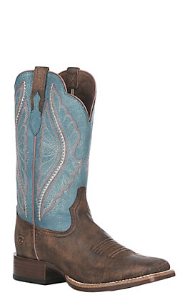 Ariat Women's Tack Room Chocolate with Lapis Upper Primetime Wide Square Toe Western Boot