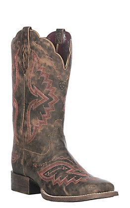 Ariat Women's Distressed Truffle Round Up Santa Fe Western Square Toe Boot