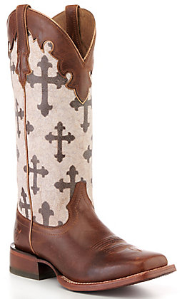 Ariat Women's Brown and Cross Print Square Toe Western Boot - Cavender's Exclusive