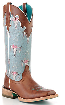 Ariat Women's Cognac and Blue Steerhead Print Square Toe Western Boot - Cavender's Exclusive