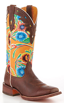 Ariat Women's Chocolate and Orange Floral Print Square Toe Western Boot - Cavender's Exclusive