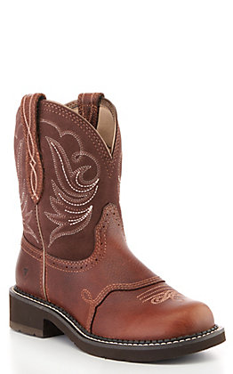 Ariat Women's Fatbaby Heritage Dapper Brown and Copper Round Toe Western Boot