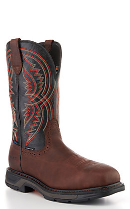 Ariat Men's WorkHog Brown and Black Waterproof Square Carbon Toe Work Boot