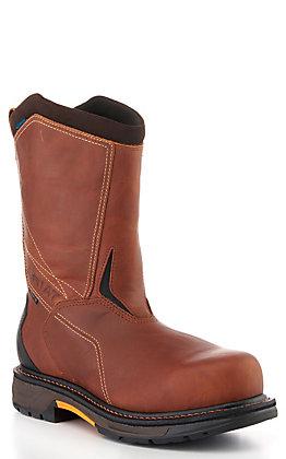 Ariat Men's Workhog Brown Waterproof Round Carbon Toe Work Boots