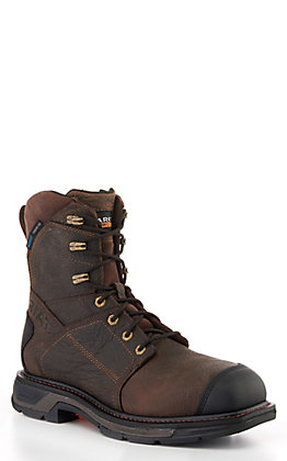 "Ariat WorkHog Men's Brown Waterproof Square Carbon Toe 8"" Lace Up Work Boots"