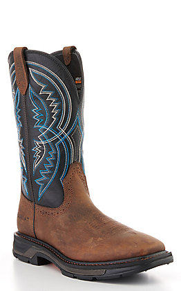 Ariat Men's WorkHog XT Coil Earth Brown and Twilight Blue Square Toe Work Boot
