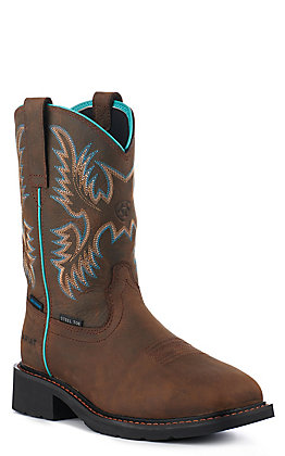 Ariat Women's Brown Waterproof Square Steel Toe Work Boots