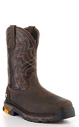 Ariat Men's Intrepid Force Brown and Black Insulated Waterproof Square Composite Toe Work Boot