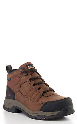 Ariat Men's Telluride Brown Waterproof Round Composite Toe Lace Up Work Boot