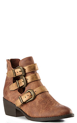 Ariat Women's Distressed Tan and Gold Buckle Strapped Round Toe Booties