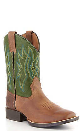 Ariat Youth Tan and Green Square Toe Western Boots