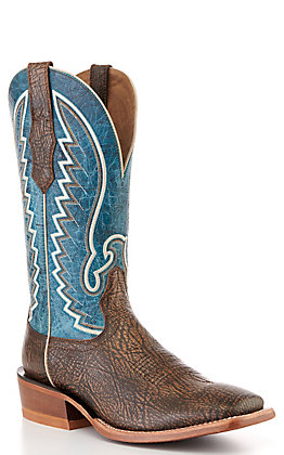 Ariat Men's Dry Whiskey Brown & Blue Square Toe Western Boots
