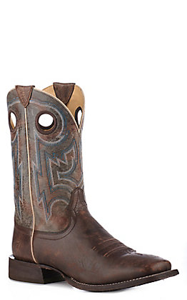 Ariat Men's Circuit Pro Tan and Slate Wide Square Toe Western Boot