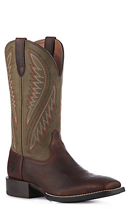 Ariat Men's Sport Stonewall Barley Brown and Olive Green Wide Square Toe Western Boots