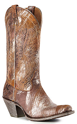 Ariat Women's Circuit Salam Brown with Brushed Silver Square Toe Western Boots