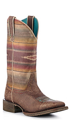 Ariat Women's Distressed Brown Lizard Print and Vintage Serape Square Toe Western Boots