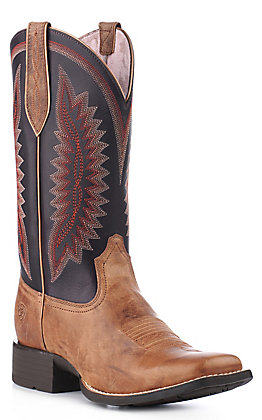 Ariat Women's Quickdraw Almond Buff With Purple Tops Square Toe Western Boots