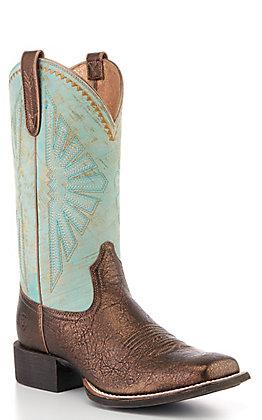 Ariat Women's Dark Bronze & Jade Square Toe Western Boots