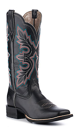 Ariat Women's Shock Shield Black Wide Square Toe Western Boots