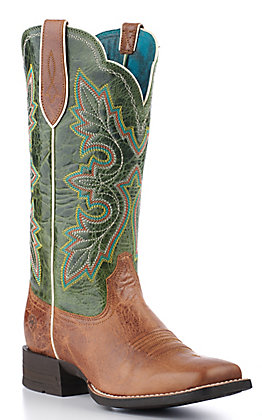 Ariat Women's Shock Shield Dark Tan and Treetop Green Square Toe Western Boots