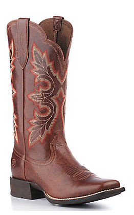 Ariat Women's Breakout Shock Shield Rustic Brown Wide Square Toe Western Boot