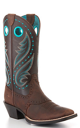 Ariat Women's Brown and Turquoise Square Toe Western Boots