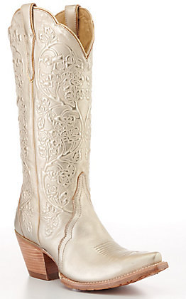 Ariat Women's Gold Brushed Snip Toe Western Boots
