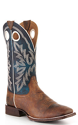 Ariat Men's Circuit Champ Woodsmoke Brown and Azul Wide Square Toe Western Boot