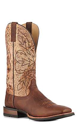 Ariat Men's Shock Shield Long Trail Marbled Brown and Toasted Sand Wide Square Toe Cowboy Boots