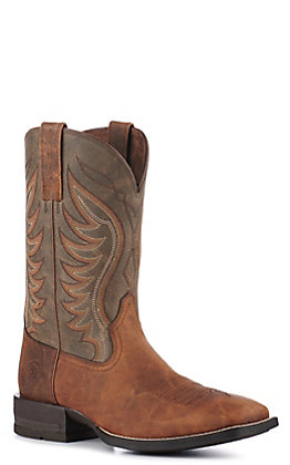 Ariat Men's Amos Shock Shield Sorrel Brown and Army Green Wide Square Toe Western Boot