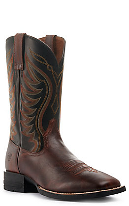 Ariat Men's Amos Shock Shield Barnwood Brown and Black Wide Square Toe Western Boots