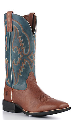 Ariat Men's Round Pen Shock Shield Saddle Tan and Blue Wide Square Toe Western Boots