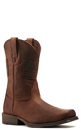 Ariat Men's Rambler Patriot Distressed Brown Square Toe Western Boot