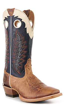 Ariat Men's Real Deal Wheat Brown and Navy Wide Square Toe Western Boot