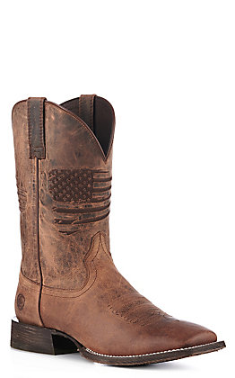 Ariat Men's Circuit Patriot Weathered Tan Embroidered Flag Wide Square Toe Western Boot