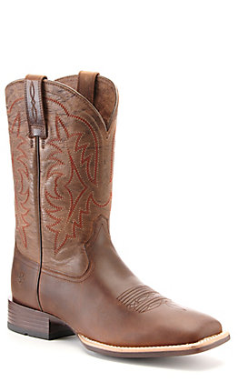 Ariat Men's Ryden Ultra Distressed Brown Bantamweight Wide Square Toe Western Boots