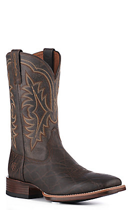 Ariat Men's Ryden Ultra Chocolate Brown Elephant Print Bantamweight Wide Square Toe Western Boot