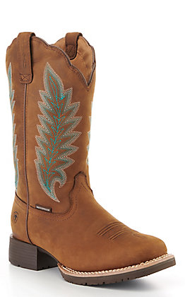Ariat Women's Oily Distressed Tan Hybrid Rancher Waterproof 400G Square Toe Western Boots