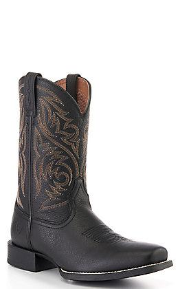 Ariat Men's Sport Herdsman Black Deertan Punchy Toe Western Boots