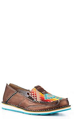 Ariat Women's Cruiser Copper Metallic with Rainbow Aztec Moc Toe Casual Shoe