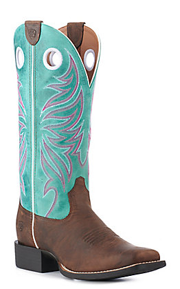 Ariat Women's Brown & Miami Blue Square Toe Western Boots