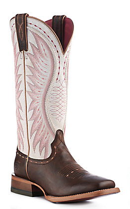 Ariat Women's Brown & Crackle White Square Toe Western Boots