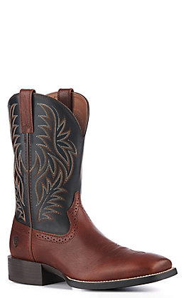 Ariat Men's Sport Cognac and Black Wide Square Toe Western Boot